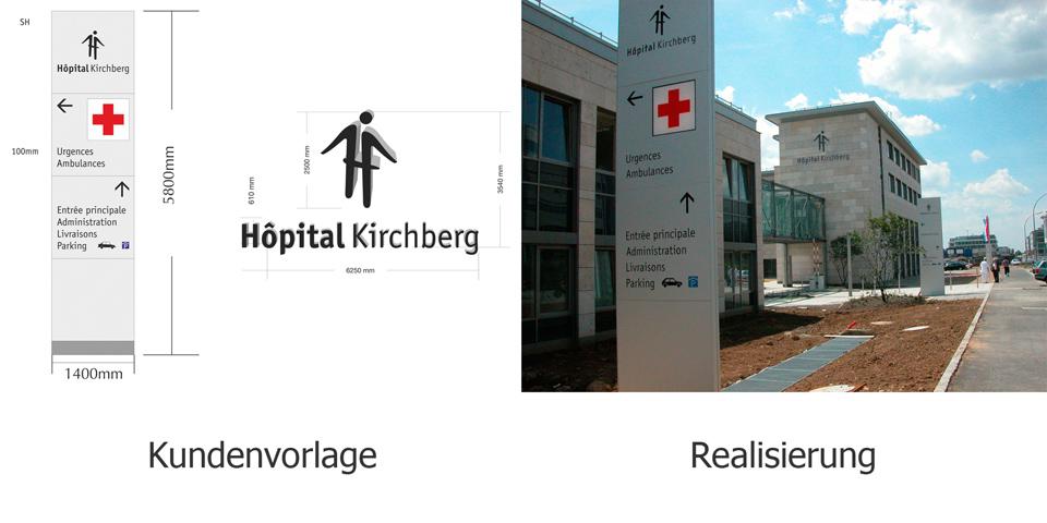 Die Korrekturzeichnungen einer Wegeleitplanung zeigen anhand eines detaillierten Zeichnungsvorschlags, wie ein geplantes Schild aussehen könnte. Die Computermontage ist realitätsgetreu und mit den notwendigen Maßen versehen.