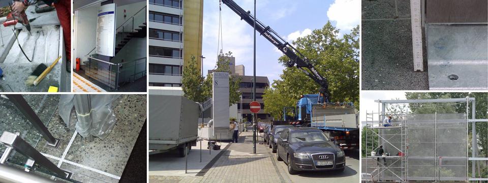 Die Wegeleitplanung endet mit der Montage, für die wir Ihnen oder Ihrem Monteur ausführliche Montagepläne zur Verfügung stellen. Außerdem können wir auch Hubwagen oder Kranfahrzeuge zur Unterstützung der Montage der Schilder anfordern.