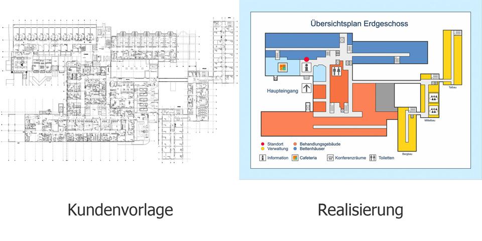 Während der Planbearbeitung werden die Pläne Ihres Gebäudes und Geländes mithilfe von deutlichen Markierungen und Piktogrammen auf das Wesentliche bereinigt. Auf Schilder gespannt können die Pläne dann als Übersichtspläne in die Wegeleitplanung eingebunden werden.