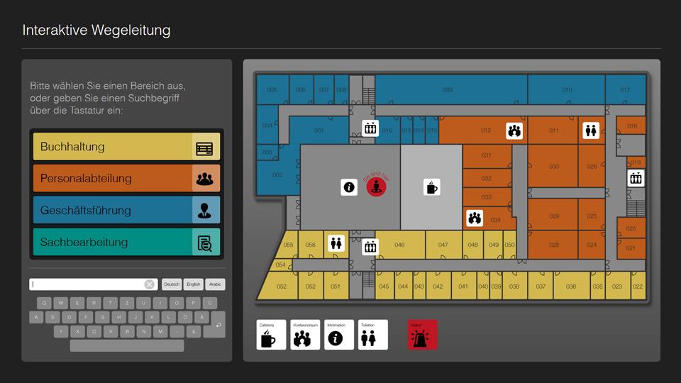 Mit unserer Demo können Sie die 2D-Leitsysteme von Kompas Wayfinding interaktiv erkunden.