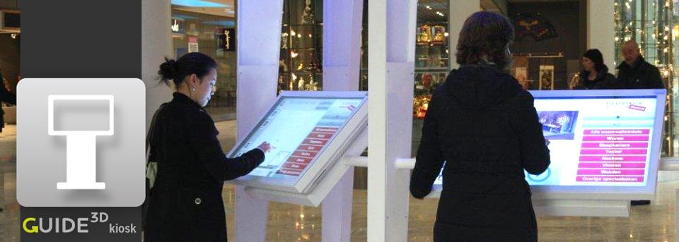 Die 3D-Leitsysteme von Guide3D begrüßen Ihren Besucher mit einem interaktiven Kiosksystem.