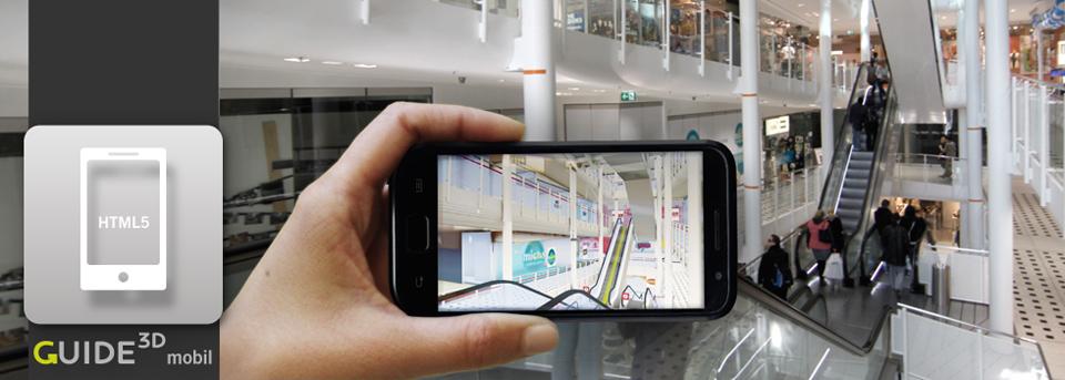 Die 3D-Leitsysteme von Guide3D stehen Ihrem Besucher auch mobil per Web-Applikation zu Verfügung.