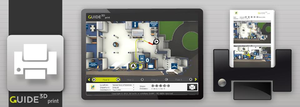 Die 3D-Leitsysteme von Guide3D liefern Ihrem Besucher ausdruckbare Pläne und teilbare PDFs.