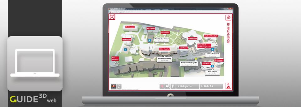 Die 3D-Leitsysteme von Guide3D stellen Ihrem Besucher die notwendigen Navigationsinformationen bereits auf dem heimischen PC bereit.