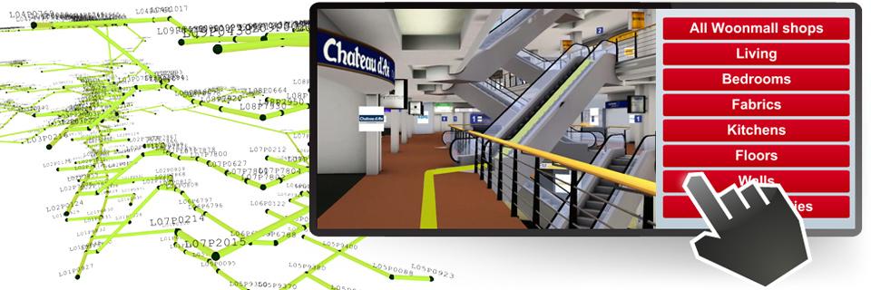 3D-Leitsysteme ermöglichen es Ihrem Besucher, nach bestimmten Zielen zu suchen und sich individuell über die bestmöglichen Wege dorthin navigieren zu lassen.