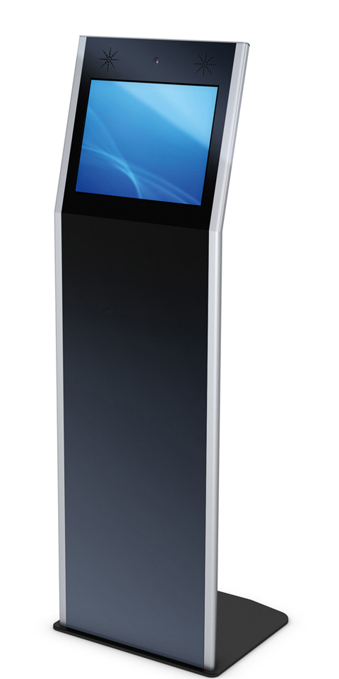 Kiosksysteme und digitale Monitorstelen aus dem System VANA sind durch den geneigten Bildschirm vor allem zur Interaktion geschaffen.