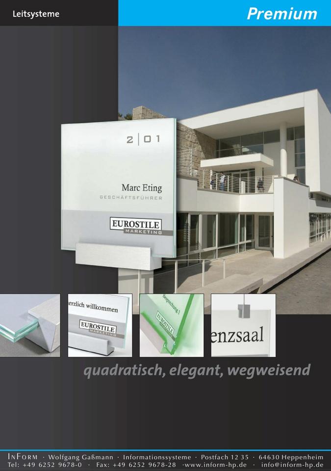 Die Innenschilder aus dem System Premium zeichnen sich als Innenbeschilderung durch ihre quadratische Form aus. Das Schildersystem lässt sich mit einem Sechskantschlüssel aktualisieren.