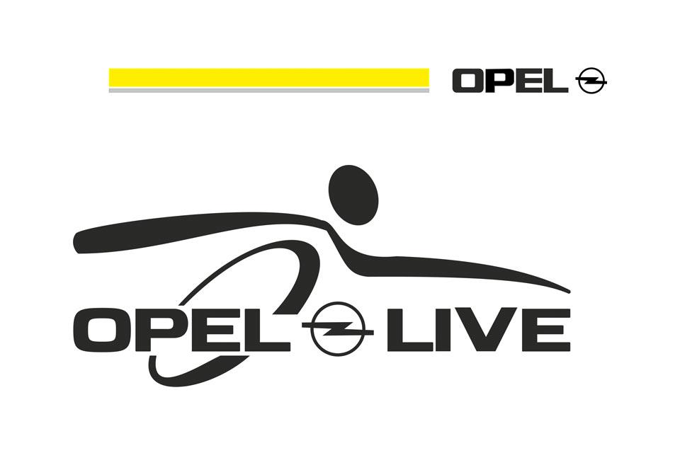 Logo der Adam Opel AG in Rüsselsheim bei Wiesbaden, Mainz und Frankfurt am Main.