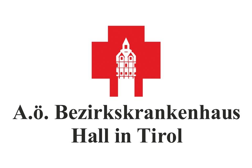 Logo des Allgemeinen Öffentlichen Bezirkskrankenhauses in Hall in Tirol bei Innsbruck.
